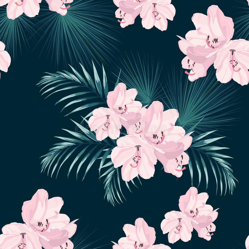 Seamless tropical vector pattern with paradise pink rhododendron flowers and exotic palm leaves on dark blue background. Illustration for design wedding stock illustration