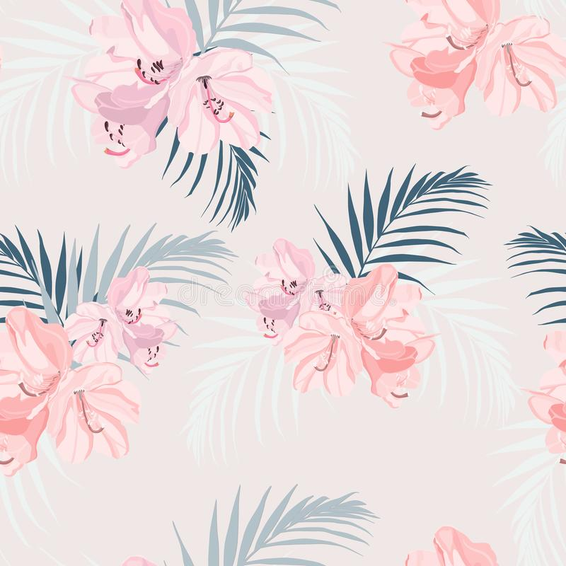Seamless tropical vector pattern with paradise pink rhododendron flowers and exotic palm leaves on tender peach background. Illustration for design wedding stock illustration
