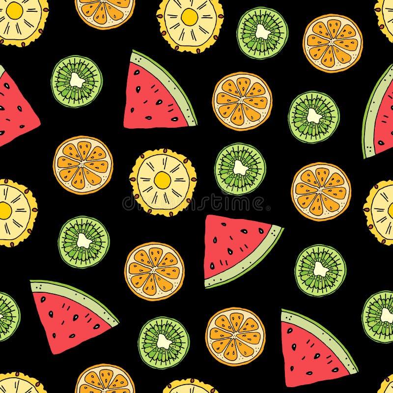 Seamless tropiska frukter m?nstrar stock illustrationer