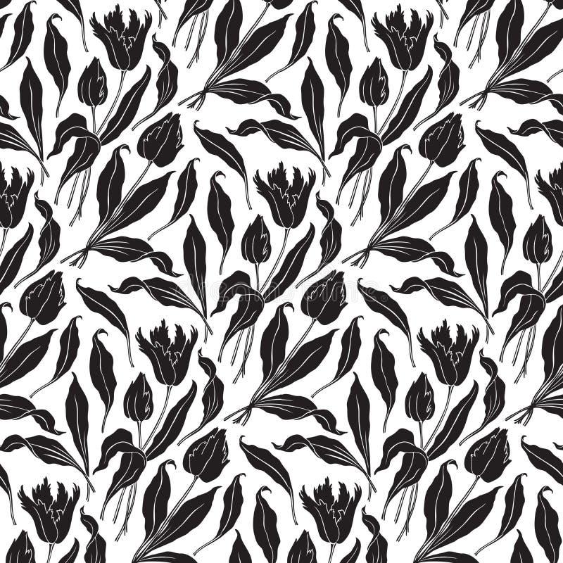 Seamless tulips pattern (vector) royalty free illustration