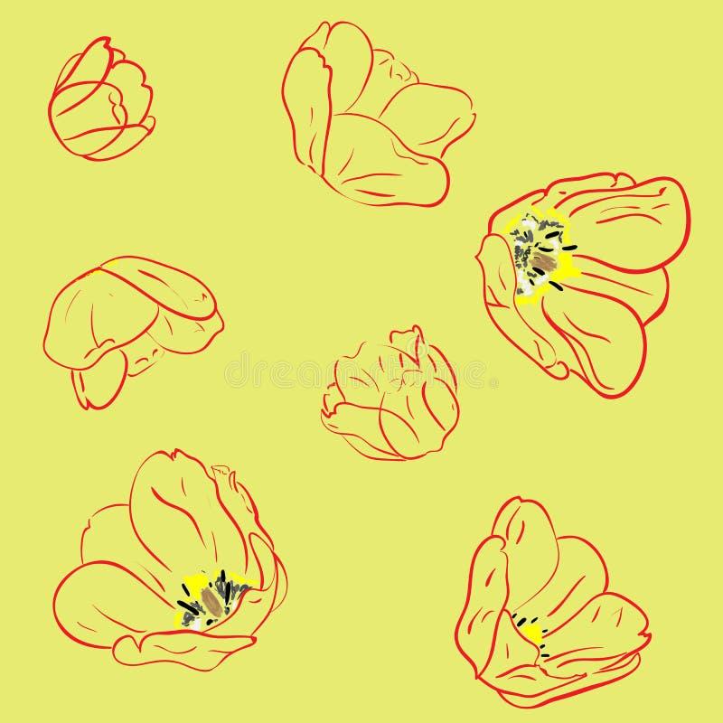 seamless tulpan för modell stock illustrationer
