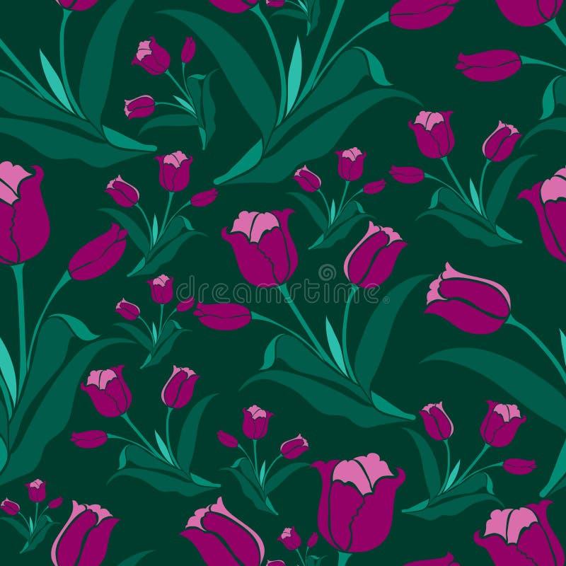seamless tulpantappning för blom- modell vektor illustrationer