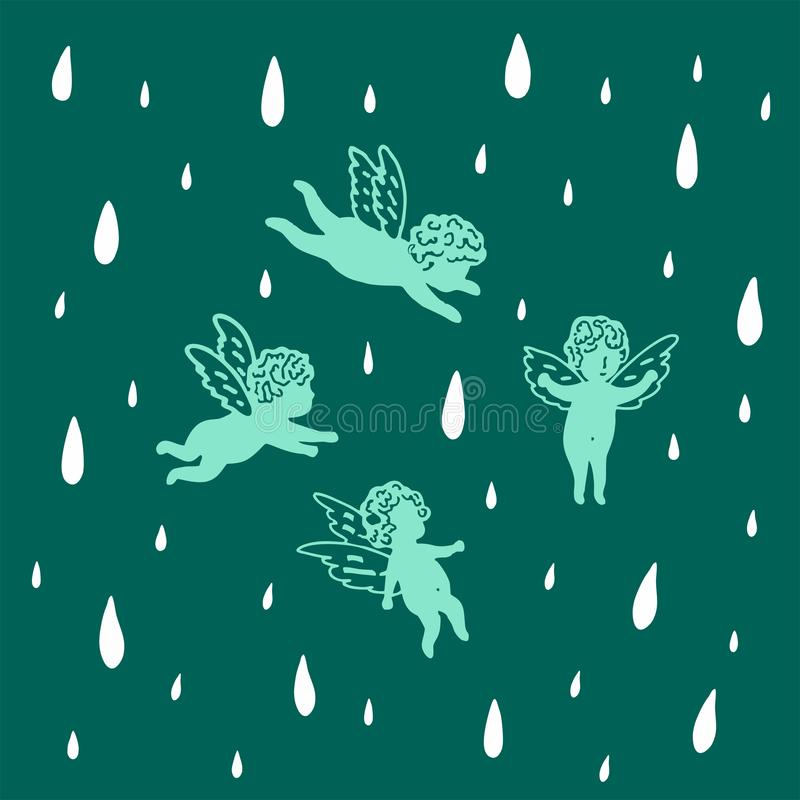 Angels fly in the sky in the rain. Seamless turquoise background with romantic angels. Seamless dark turquoise background. Background with romantic angels and royalty free illustration