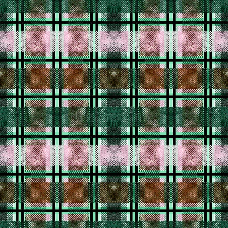 Seamless turquoise, pink, mustard, checkered tartan plaid background . Colorful pattern stock illustration