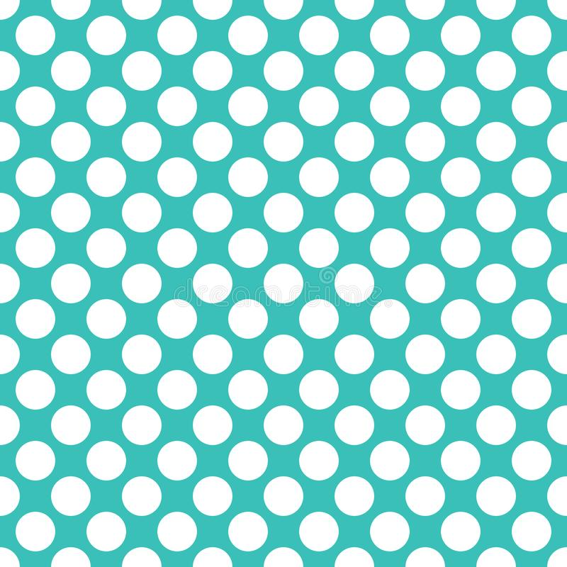 Seamless turquoise polka dots pattern texture background. Wallpaper vector illustration