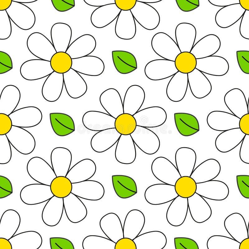 seamless tusensk?namodell enkelt motiv f?r blom- retro stil vita blommor p? f?rgbakgrundstyg stock illustrationer