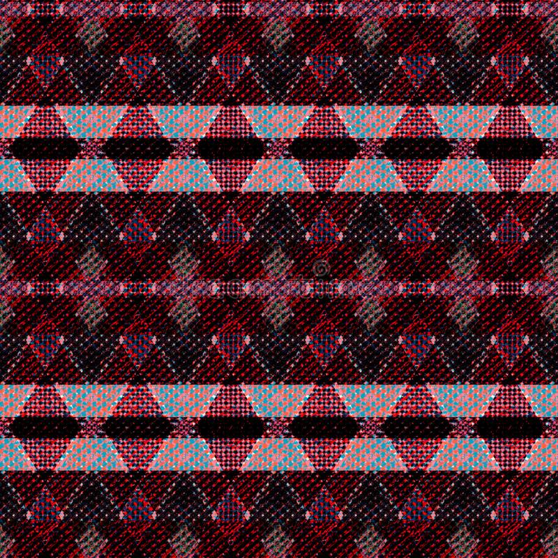 Seamless tweed geometric pattern. Burgundy background. Colorful background stock illustration