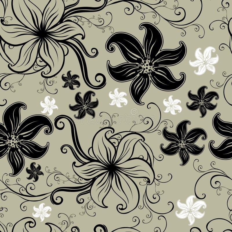 seamless twirled vektor för blom- modell stock illustrationer