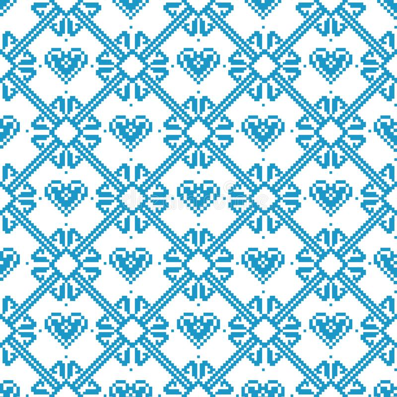 Seamless tyg Glad jul och lyckligt nytt år materiel Tillfället PIXEL Vit- och blåttfärg vektor illustrationer