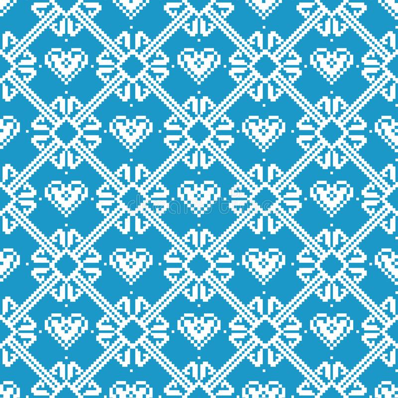 Seamless tyg Glad jul och lyckligt nytt år Tillfället PIXEL Vit- och blåttfärg vektor illustrationer