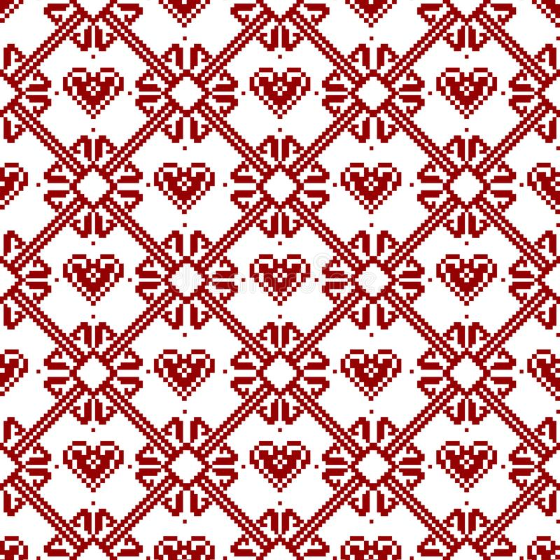 Seamless tyg Glad jul och lyckligt nytt år Tillfället PIXEL Vit och röd färg stock illustrationer