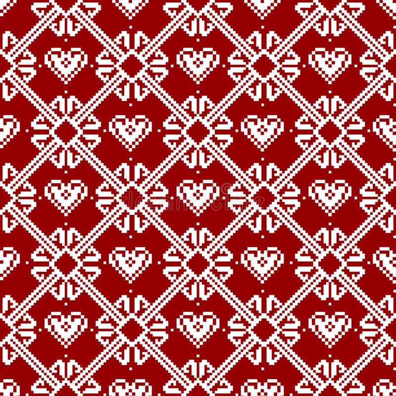 Seamless tyg Glad jul och lyckligt nytt år Tillfället PIXEL Vit och röd färg vektor illustrationer