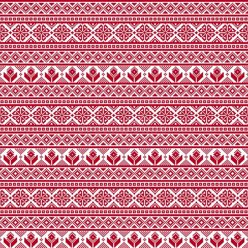 Seamless tyg PIXEL Glad jul och lyckligt nytt år tillfället röd white Prydnad vektor illustrationer
