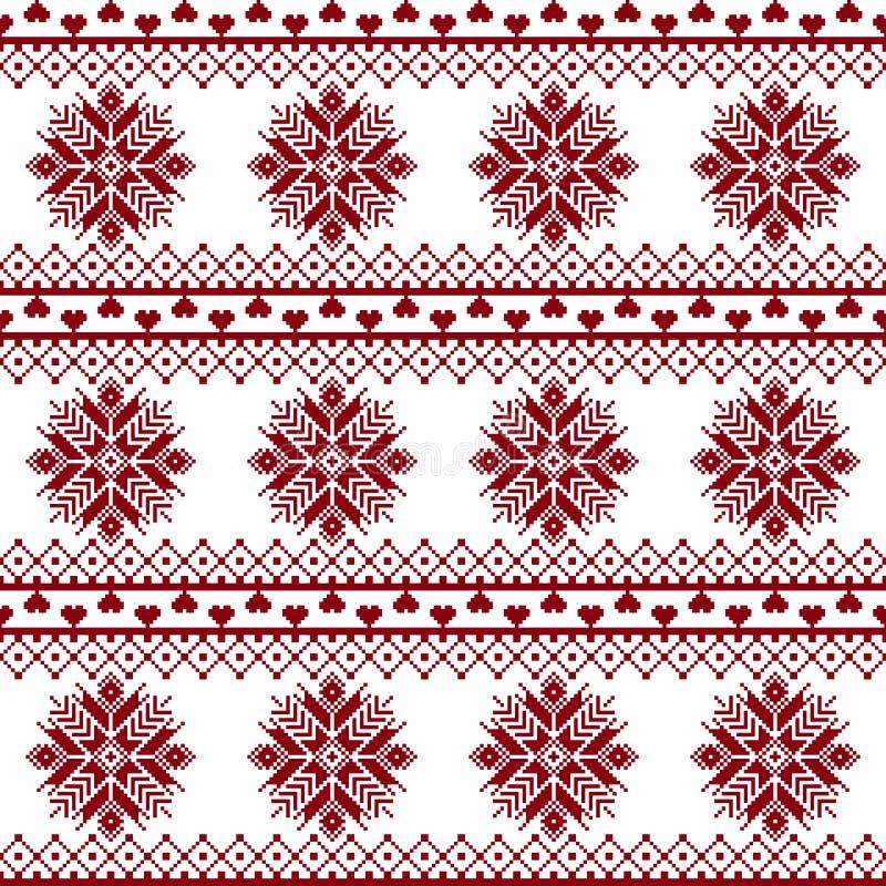 Seamless tyg Tillfället Glad jul och lyckligt nytt år PIXEL royaltyfri illustrationer