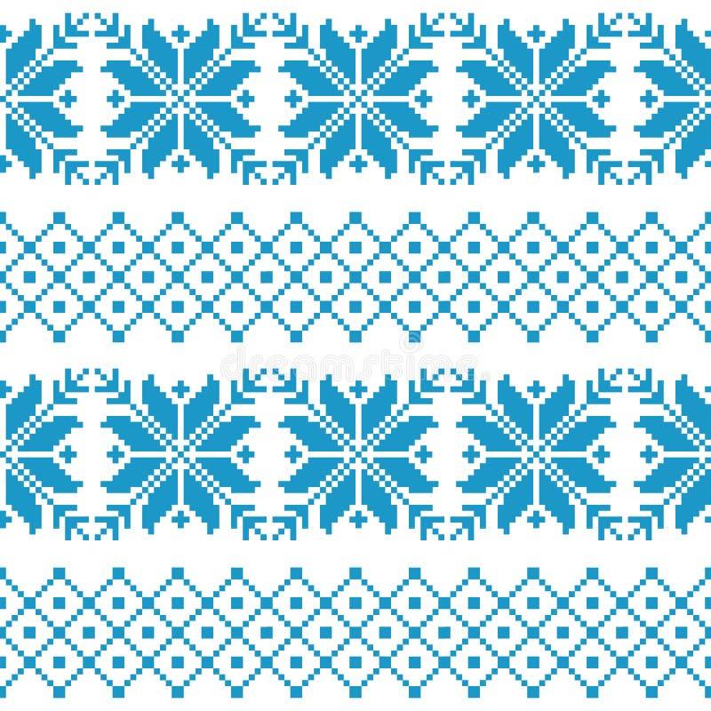 Seamless tyg Tillfället Glad jul och lyckligt nytt år PIXEL Vit- och blåttfärg materiel vektor illustrationer