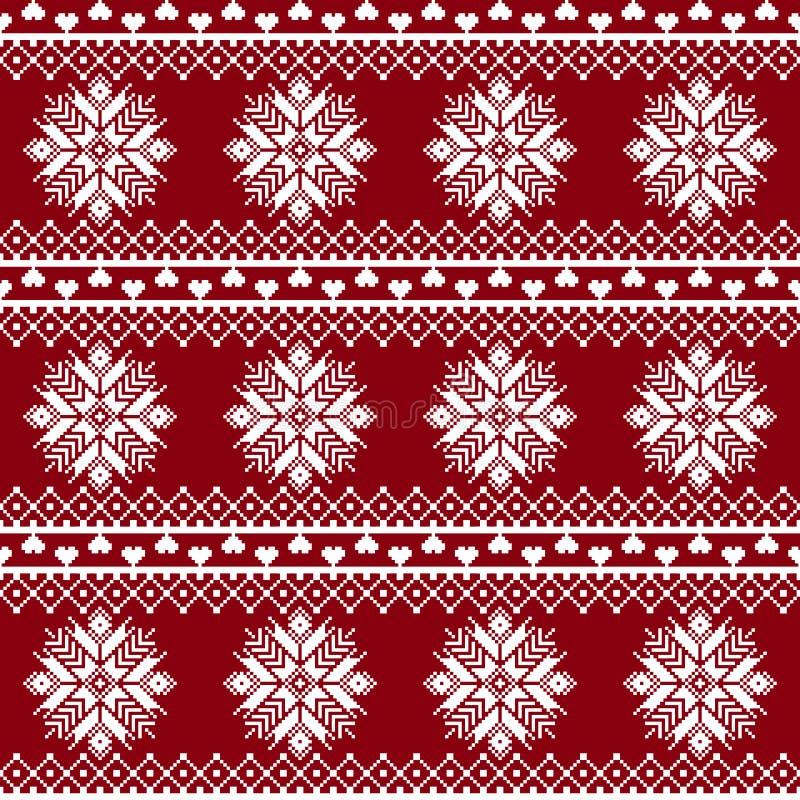 Seamless tyg Tillfället Glad jul och lyckligt nytt år PIXEL Vit och röd färg royaltyfri illustrationer