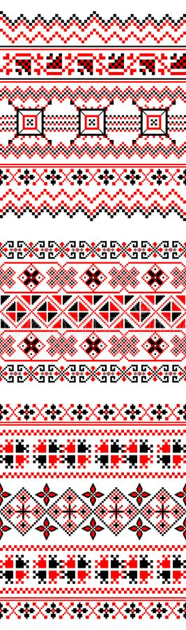 Seamless ukrainian motif from 3 decorative strips in black and red tones stock illustration