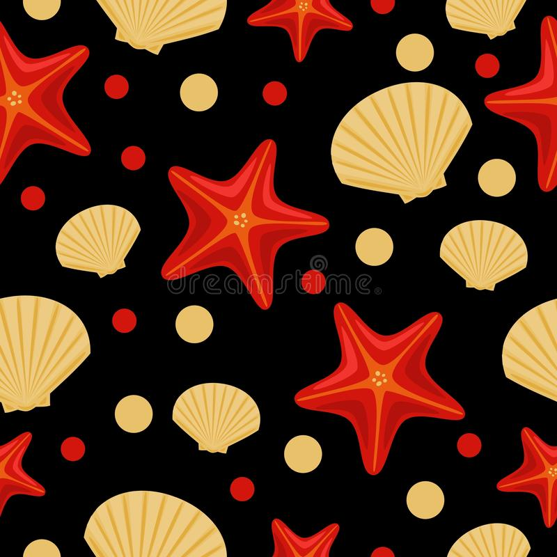 Seamless underwater sea pattern with starfish and shell. Abstract repeat background, colorful vector illustration can be used as royalty free stock photography