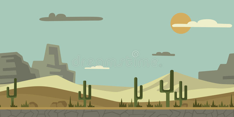 Seamless unending background for game or animation. Desert landscape with cactus, stones and mountains in the background royalty free illustration