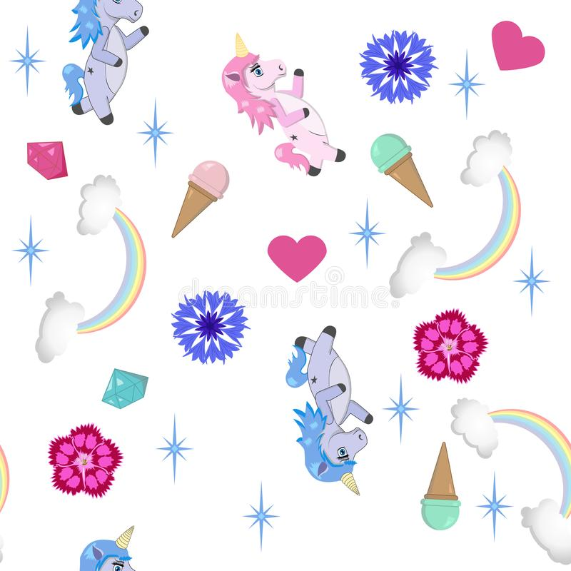 Seamless unicorn pattern - vector background in fantasy theme vector illustration