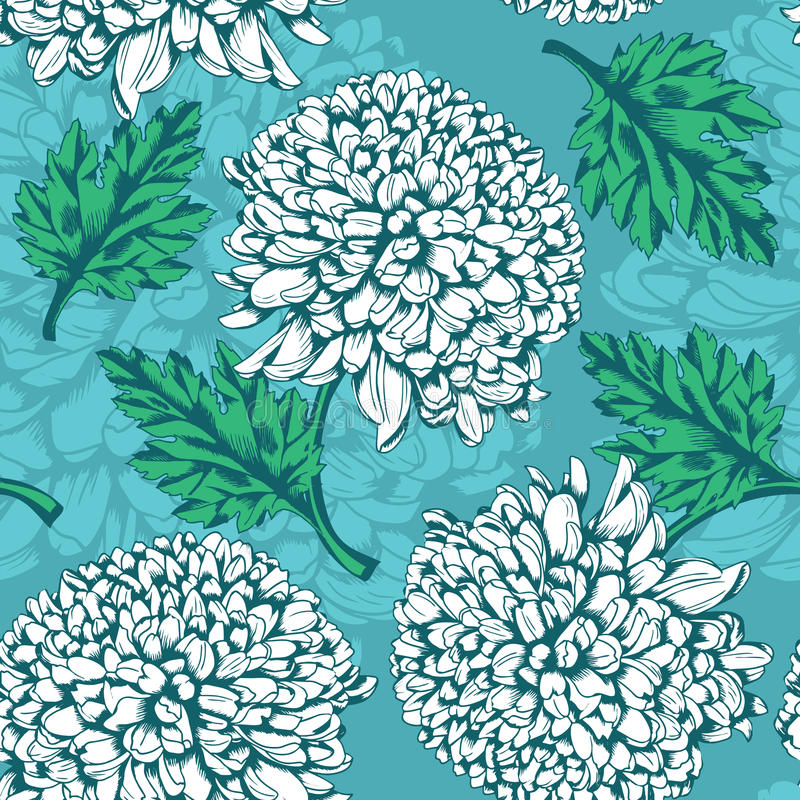seamless utmärkt modell för chrysanthemum stock illustrationer