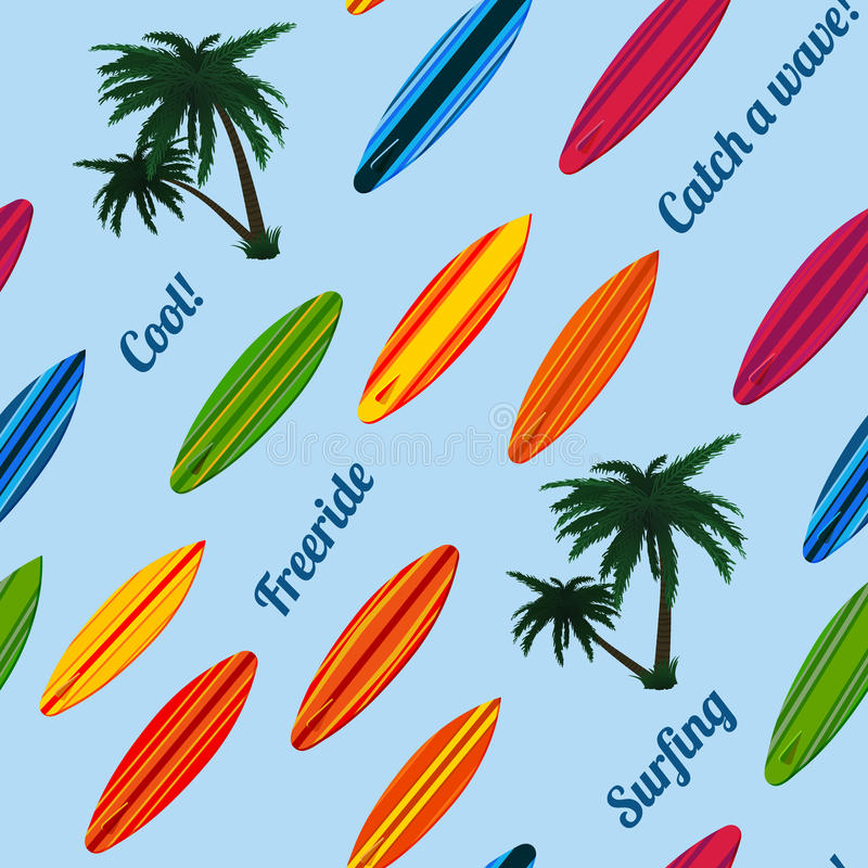 Seamless vacation pattern with surfboards stock illustration