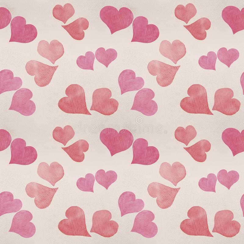 Seamless Valentine`s day watercolor hearts background. On paper texture stock image