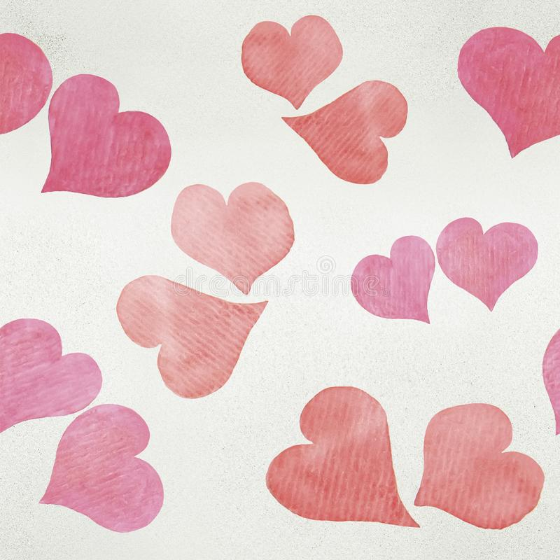 Seamless Valentine`s day watercolor hearts background. On paper texture stock images