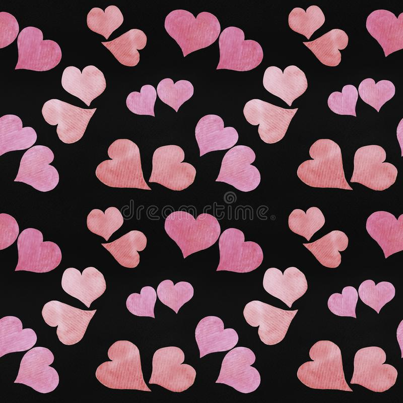 Seamless Valentine`s day watercolor hearts background. On black paper texture stock photo