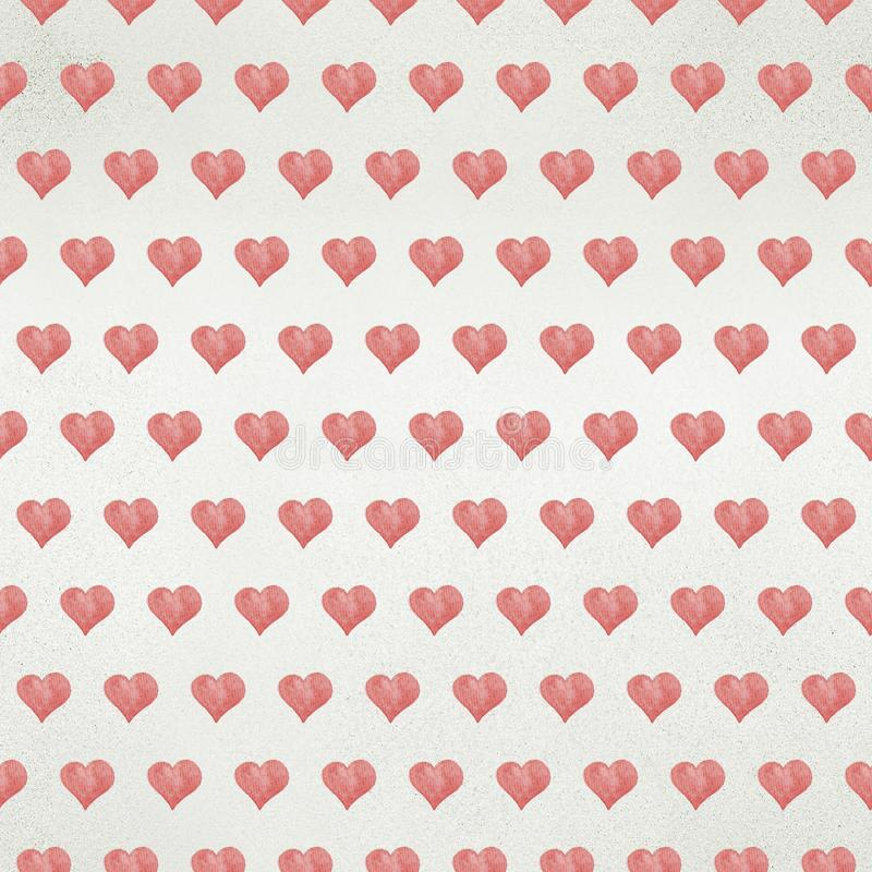 Seamless Valentine`s day watercolor hearts background. On paper texture royalty free stock photo