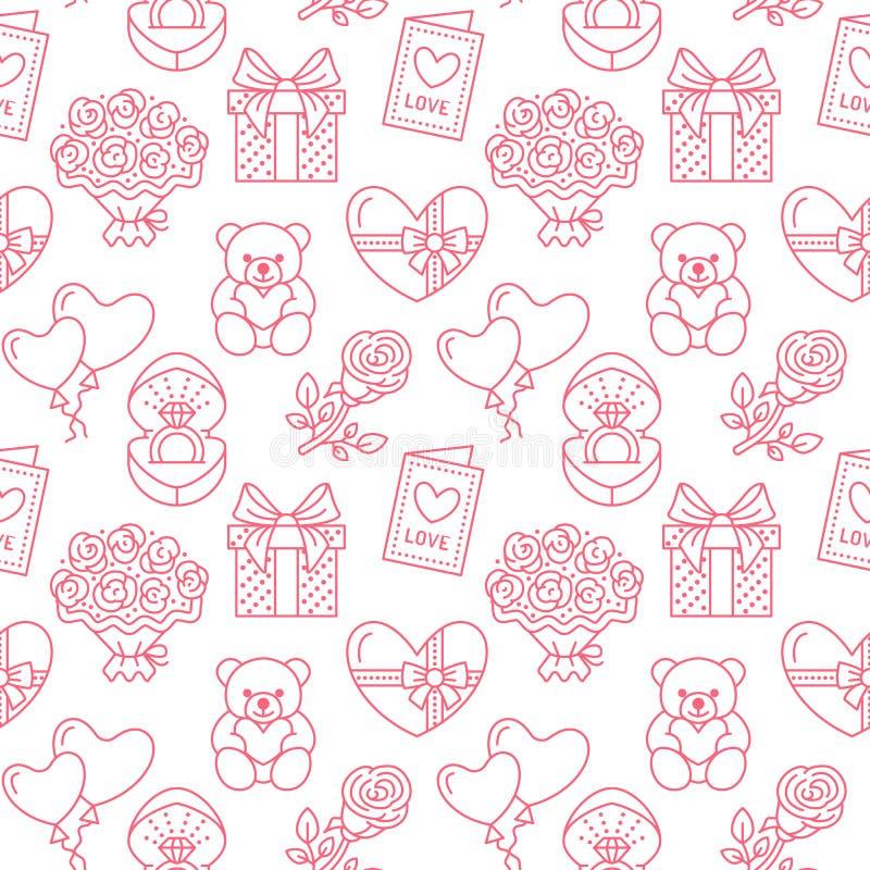 seamless valentiner för dagmodell Förälskelse romanslägenhetlinje symboler - hjärtor, choklad, nallebjörn, förlovningsring royaltyfri illustrationer