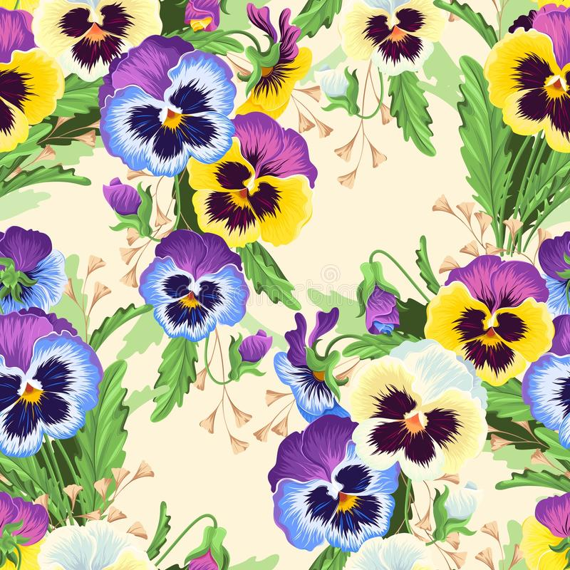 Seamless varicolored pansies. Bright and varicolored pansies vector seamless background royalty free illustration