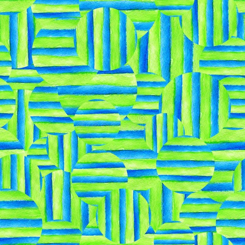seamless vattenf?rg f?r abstrakt bakgrund Handen m?lade band och cirklar vektor illustrationer