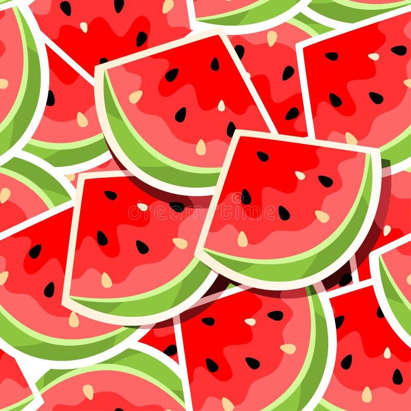 seamless vattenmelon för bakgrund stock illustrationer