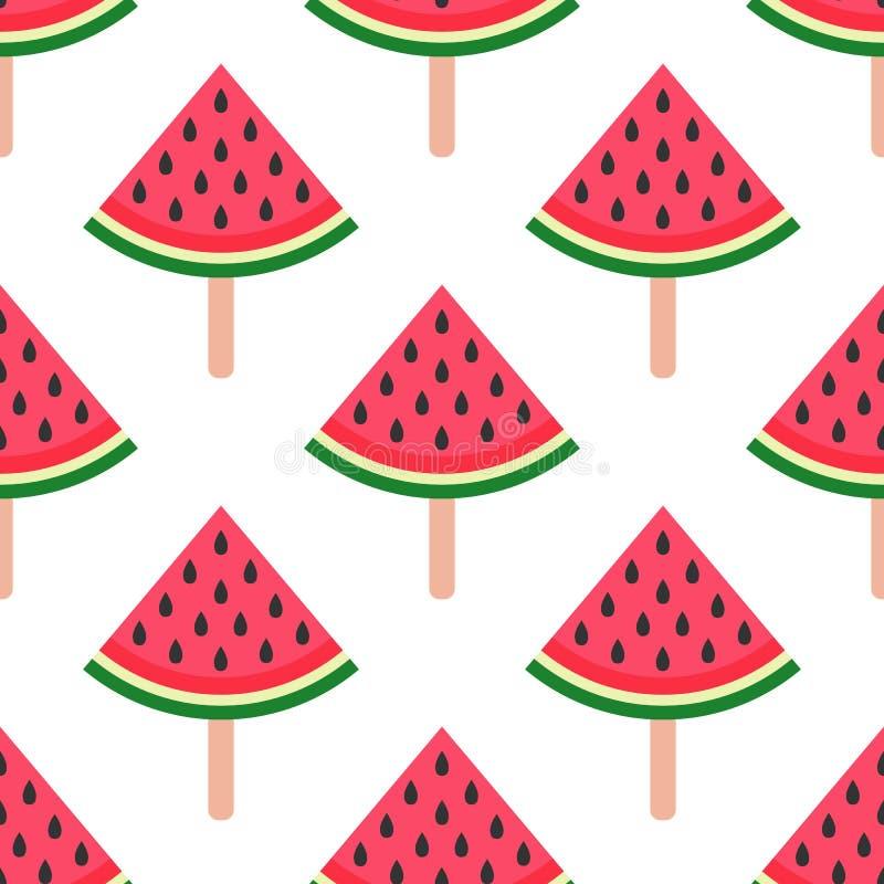 seamless vattenmelon f?r bakgrund Vattenmelon p? en pinne ocks? vektor f?r coreldrawillustration En enkel modell unga vuxen m?nni stock illustrationer