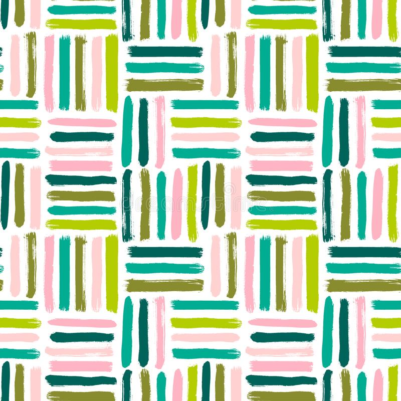 Seamless vector abstract pattern with brush strokes. Hand-painted texture. Pink green brushstrokes on a white background. For prin vector illustration