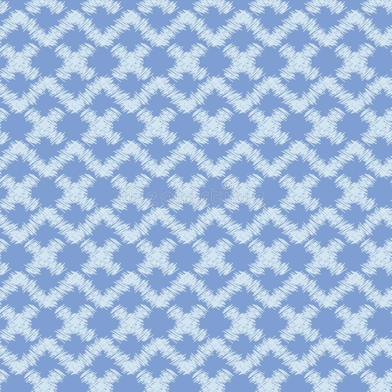 Seamless vector abstract pattern with pale indigo blue geometric shapes and zig zag stock illustration