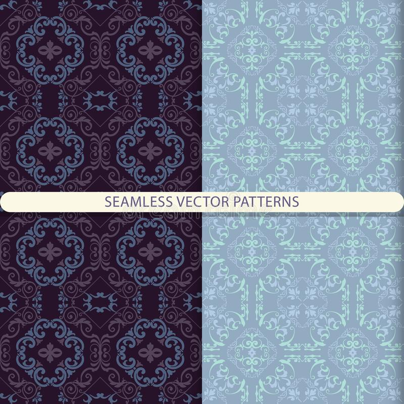Seamless vector abstract patterns with ornamental pattern. Oriental pattern. Arabic pattern. Damask pattern. Print for tiles. Prin. T for textiles. Design for royalty free illustration