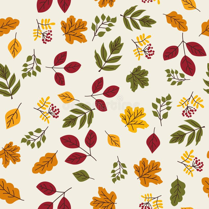 Seamless vector autumn pattern with red and orange berries and leaves. Fall colorful floral background. Elegant floral. Seamless pattern stock illustration