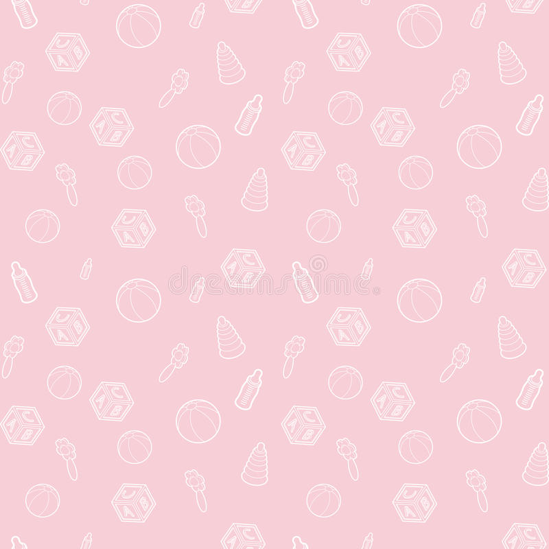 Seamless Vector Baby And Pregnancy Pattern With Pink Line Art Icons Background For Dress Manufacturing Wallpapers Prints Gift Stock Vector Illustration Of Icons Object 93781743