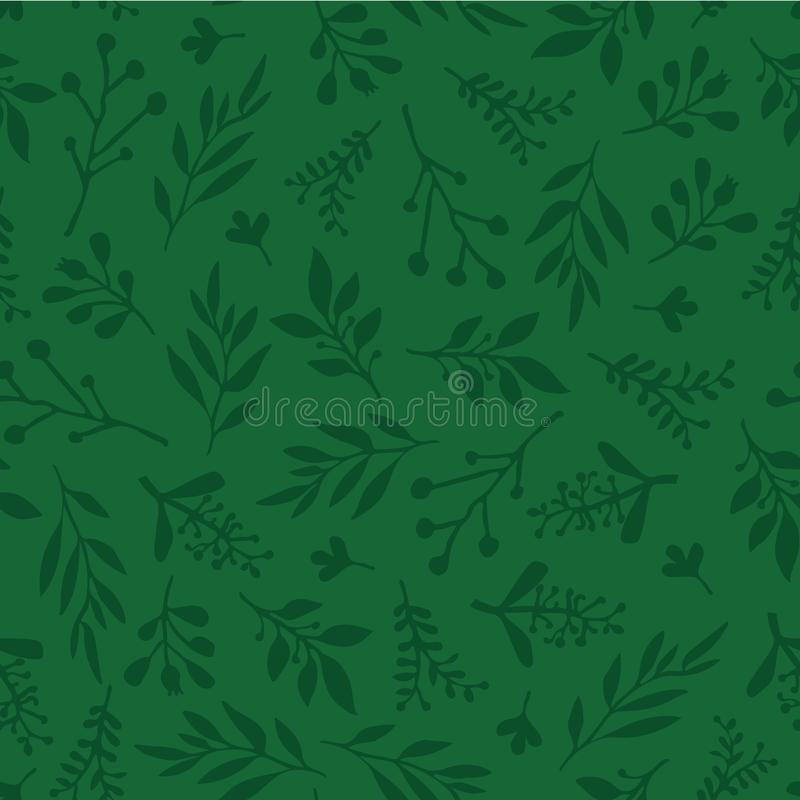 Seamless vector background with abstract leaves green. Simple leaf texture in green, endless foliage pattern. Subtle Christmas vector illustration