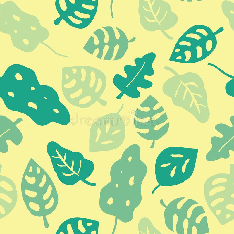 Seamless vector background green leaves. Leaves in shades of green on a yellow background. Hand drawn tropical leaves pattern. royalty free illustration