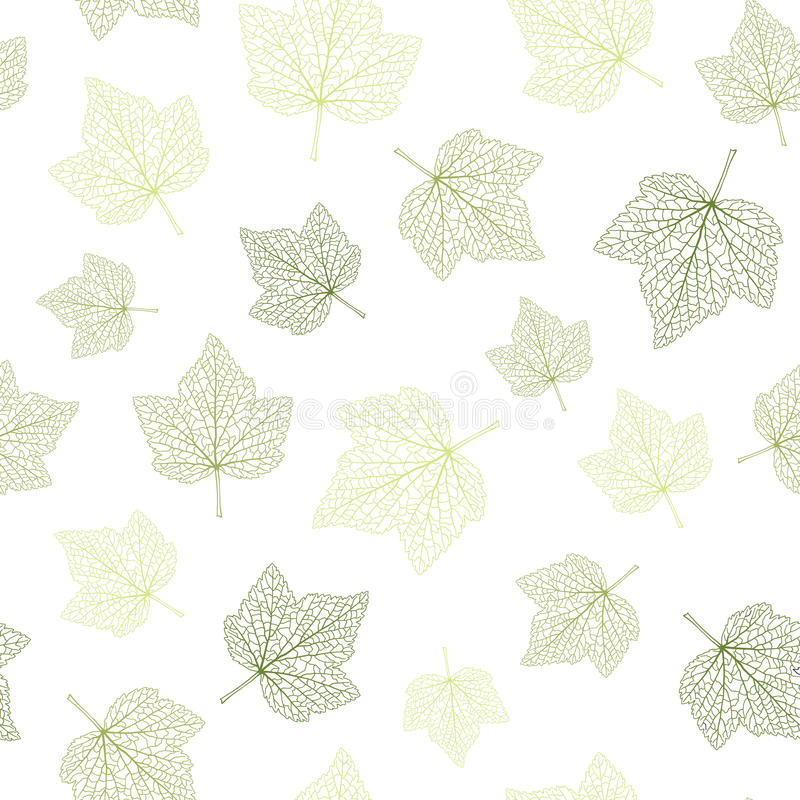 Seamless vector background. Green leaves with veins. royalty free illustration