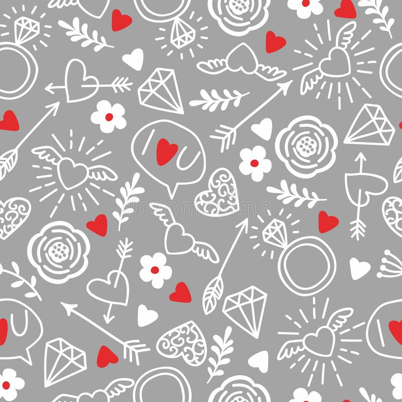 Seamless vector background with hearts arrows ringlets flowers download seamless vector background with hearts arrows ringlets flowers love illustration mightylinksfo