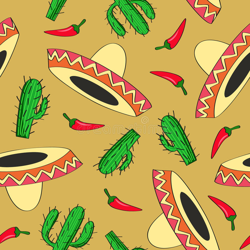 Seamless vector background with Mexican symbols stock illustration