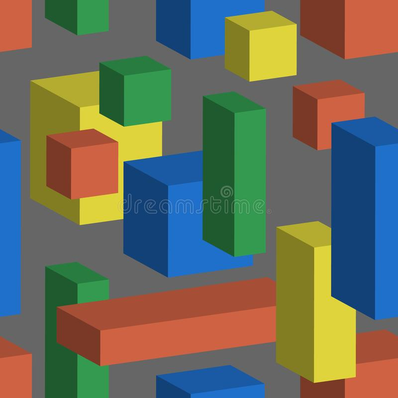 Seamless vector background with multicolored cubes and cuboid in 3D isometric style. Geometric pattern. Yellow, red, green and vector illustration