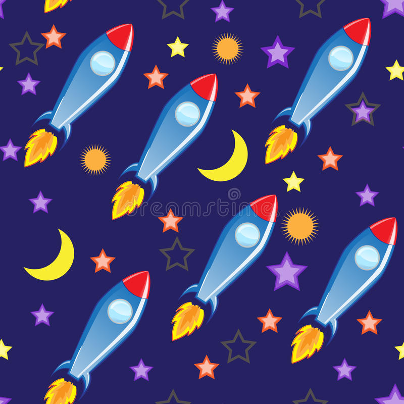 Seamless vector background. Space and missiles. royalty free stock photo