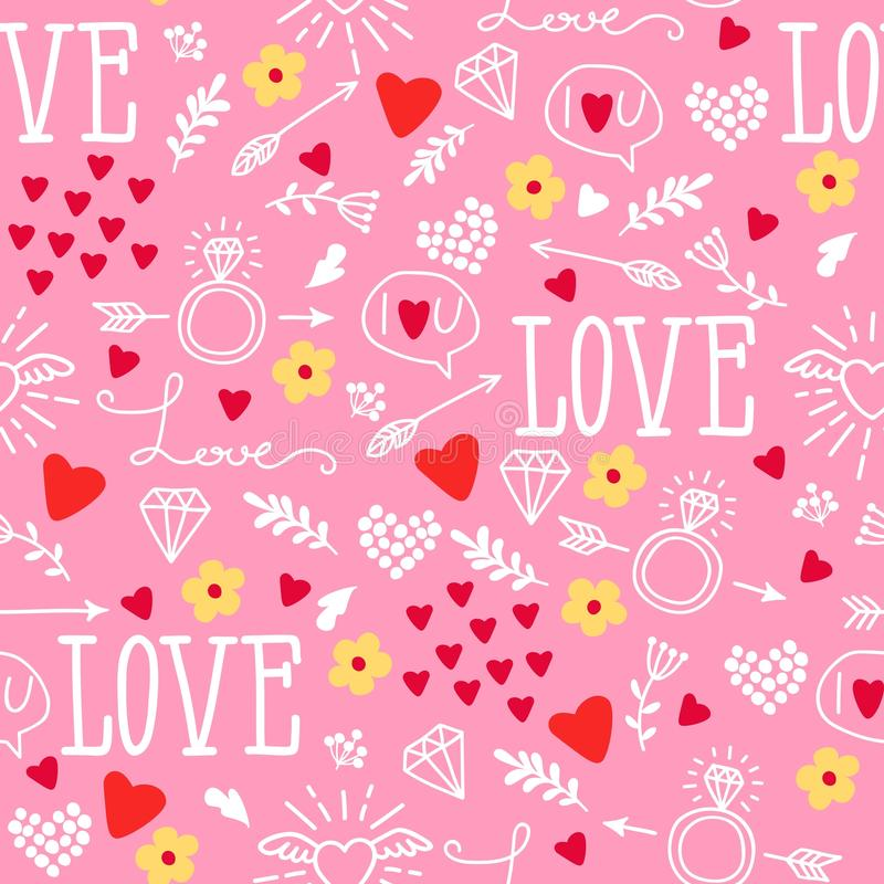 Free Seamless Vector Background With Hearts, Arrows, Ringlets, Flowers, Love. Illustration For Fabric, Scrapbooking Paper And Other Royalty Free Stock Photography - 116204817
