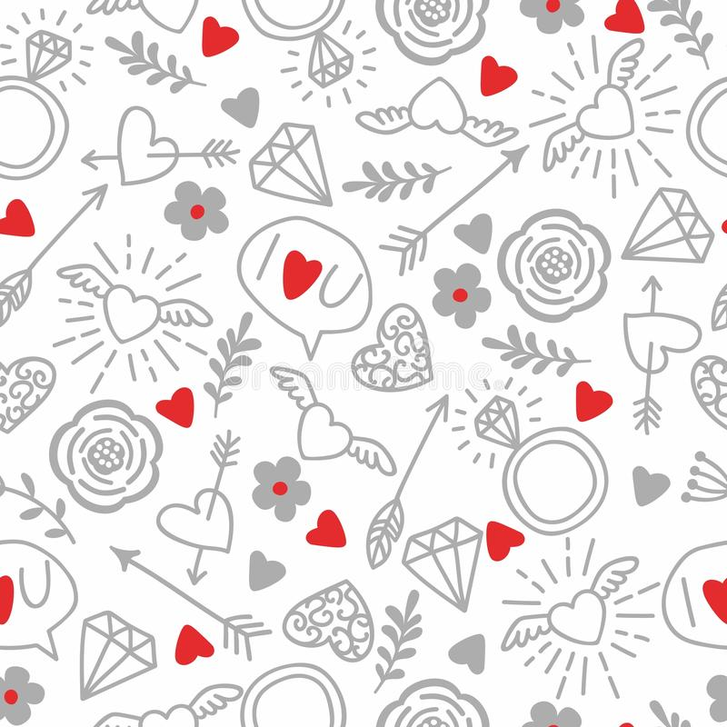 Free Seamless Vector Background With Hearts, Arrows, Ringlets, Flowers, Love. Illustration For Fabric, Scrapbooking Paper And Other Stock Photography - 93263012
