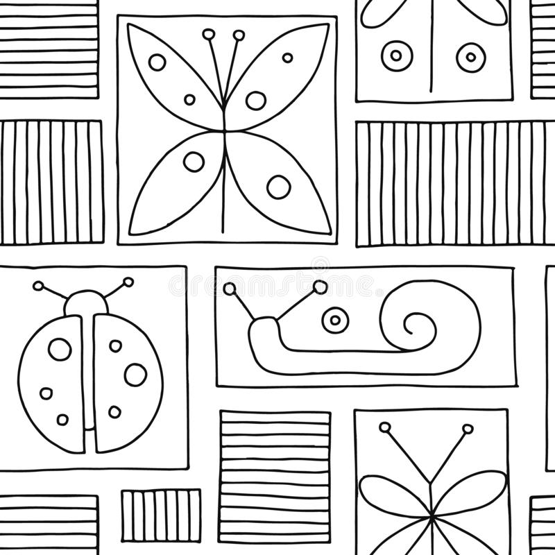 Seamless vector black and white background with hand drawn decorative childlike butterfly, ladybug, snail, dragonfly. Graphic illu vector illustration